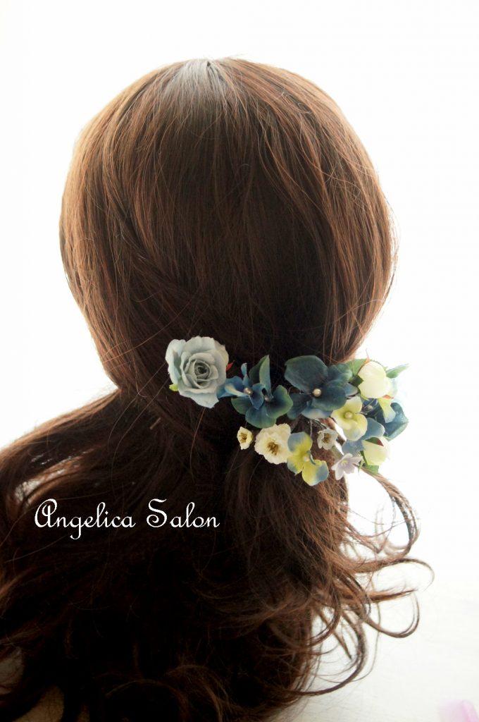 ブルー髪飾り