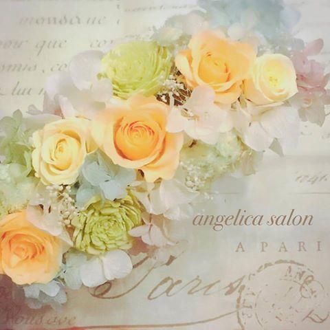 オレンジ、黄色のバラ、プリザーブドフラワー