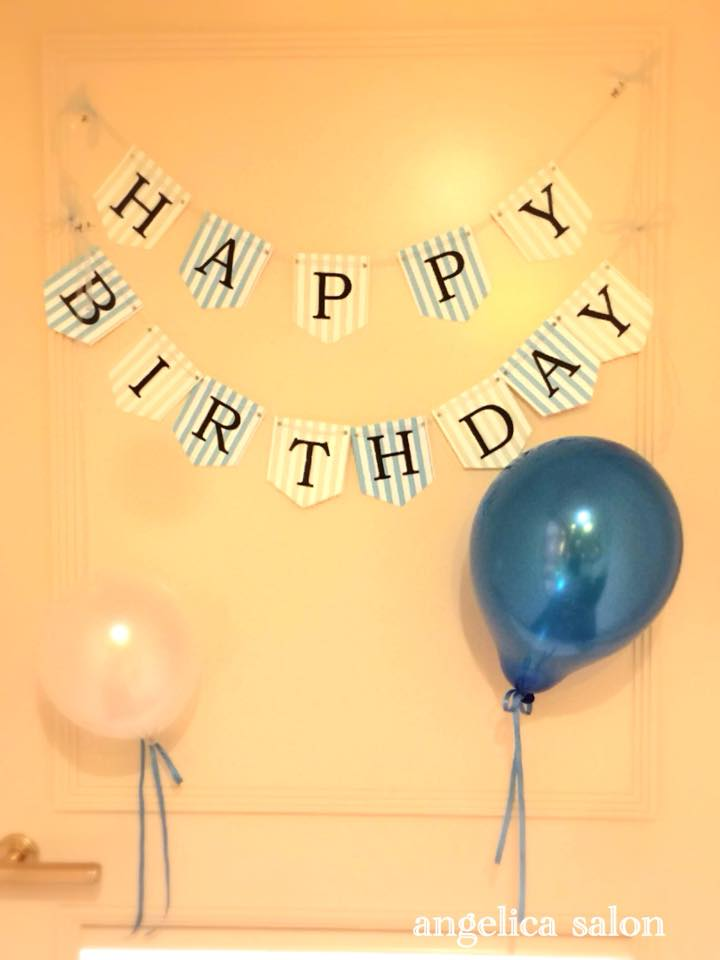 誕生日コーディネイト、手作りガーランド、風船