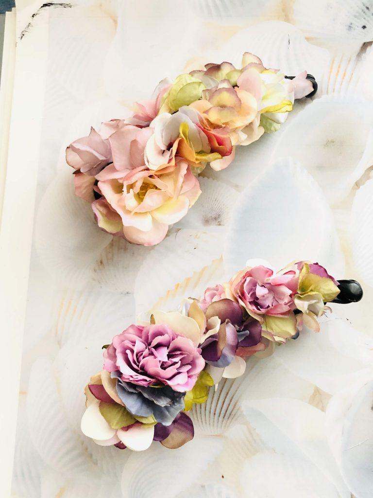 紫陽花バレッタ、髪飾り、アーティフィシャルフラワー、バナナクリップ