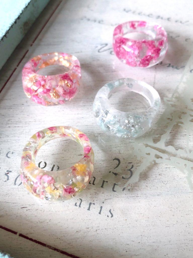 レジンリング,サマーアクセサリー,固まるハーバリウム,指輪